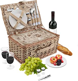 Wicker Picnic Basket Set   2 Person Deluxe Vintage Style Woven Willow Picnic Hamper   Built-in Cooler   Ceramic Plates, Stainless Steel Silverware, Wine Glasses, S/P Shakers, Bottle Opener (Natural)