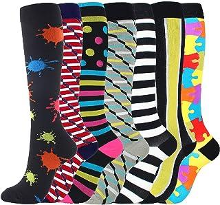 llio 7 Pairs Mixed Compression Socks Multicolored Nylon Breathable Running Hosiery