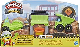 Play-Doh - Gravel Yard - Dump Truck and Gravel Grinder - 3 Tubs of Dough + 1 Sand Building - Creative Kids Toys - Ages 3+