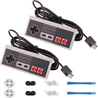 Rantecks NES Classic Controller 5 in 1 Set with 2 Pack NES Classic Controller and Conductive Adhesive Pads Replacement for Super Nintendo Classic Edition 2017 and NES Classic Mini 2016