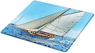 Ambesonne Nautical Cutting Board, Sailboat on the Sea Regatta Race Yacht and Windy Weather Competition Theme, Decorative Tempered Glass Cutting and Serving Board, Large Size, White Brown