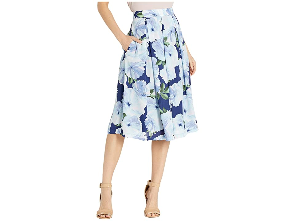Tahari by ASL Inverted Midi Pleat Skirt (Navy Floral) Women