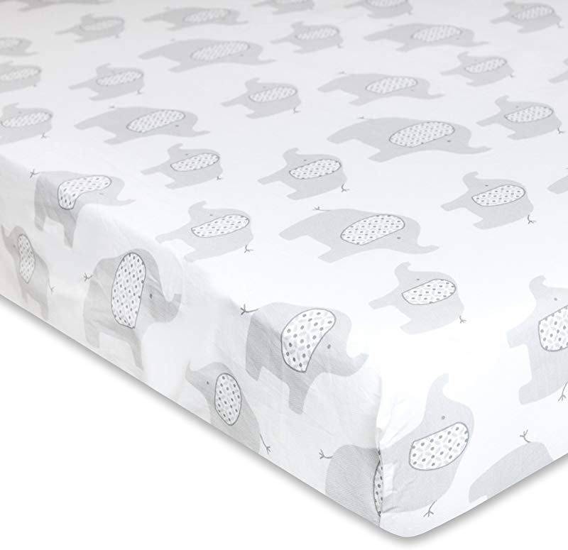 Wendy Bellissimo Grey Elephant Super Soft Fitted Crib Sheet