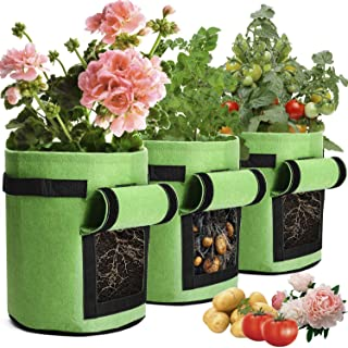 Green Potato Grow Bags 4 Gallon Garden Planting Bag Aeration Fabric Pot with Handles for Planter 3 Pack