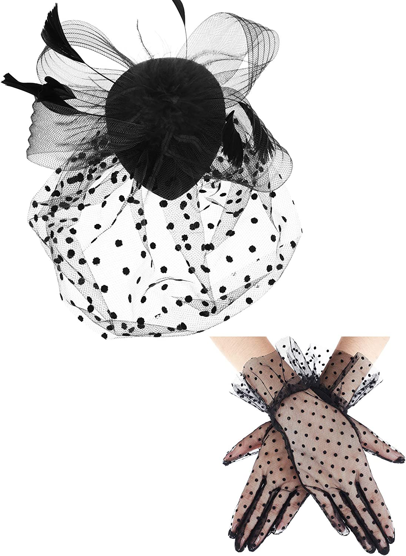 1950s Vintage Fascinator Hat Faux Feather Mesh Net Hat Cocktail Tea Party Headwear and Women Short Lace Gloves
