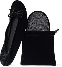 Silky Toes Women's Velvet Foldable Ballet Flats Portable Travel Shoes