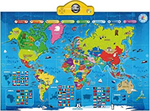 Interactive Talking World Map for Kids TG661 - Push, Learn and Discover Over 1000 Facts About Our World – Ideal Interactive Learning Toy Gift for Boys & Girls Aged 5,6,7,8,9,10 - by ThinkGizmos