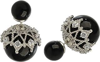 Cultured Pearl et Noir Onyx 925 Sterling Silver Dangle Boucles d/'oreilles Corona Sun