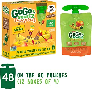GoGo squeeZ Fruit & VeggieZ on the Go, Apple Yellow Carrot Banana, 3.2 Ounce (Pack of 48), Gluten Free, Vegan Friendly, Healthy Snacks, Unsweetened, Recloseable, BPA Free Pouches