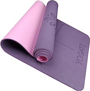 YOGATI - Tapis Yoga Antidérapant et Epais. Tapis de Yoga avec des repères d'alignement du Corps. Tapis de Sport pour Adult...