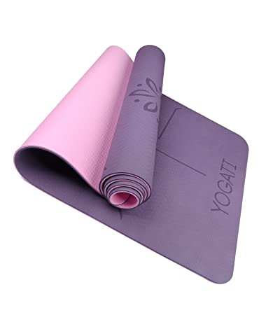 YOGATI - Tapis Yoga Antidérapant et Epais. Tapis de Yoga avec des repères d'alignement du Corps.