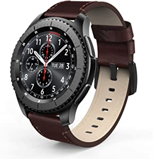 SWEES Leather Bands Compatible for Gear S3 Frontier & Classic and Galaxy Watch 46mm, Genuine Leather 22mm Strap Replacement Wristband for Samsung Gear S3 Smartwatch, Brown