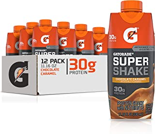 Gatorade Super Shake, Chocolate Caramel, 30g Protein, 11.16 fl oz Carton, Pack of 12