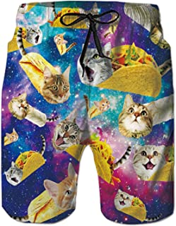 Unisex Captain Cat & Rainbow Shark/Taco Cat Tank Tops, T-Shirt, Button Shirts, Swim Trunks, Jogger Pants for Men
