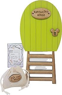 Puerta verde Ratoncito Pérez, con escalera, saquito para el diente y certificado. Producto artesanal hecho en España