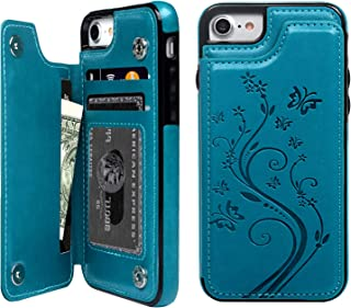 iPhone 7 Card Holder Case, iPhone 8 Wallet Case Embossed Butterfly Slim Folio Leather Cover Shockproof Shell with Credit Card Slot Protective Skin for iPhone 7 & 8,Blue