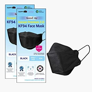 (Pack of 2) Korea Black Disposable KF94 Face Masks 4-Layer Filters Breathable Comfortable, Good Day, Nose Mouth Covering D...