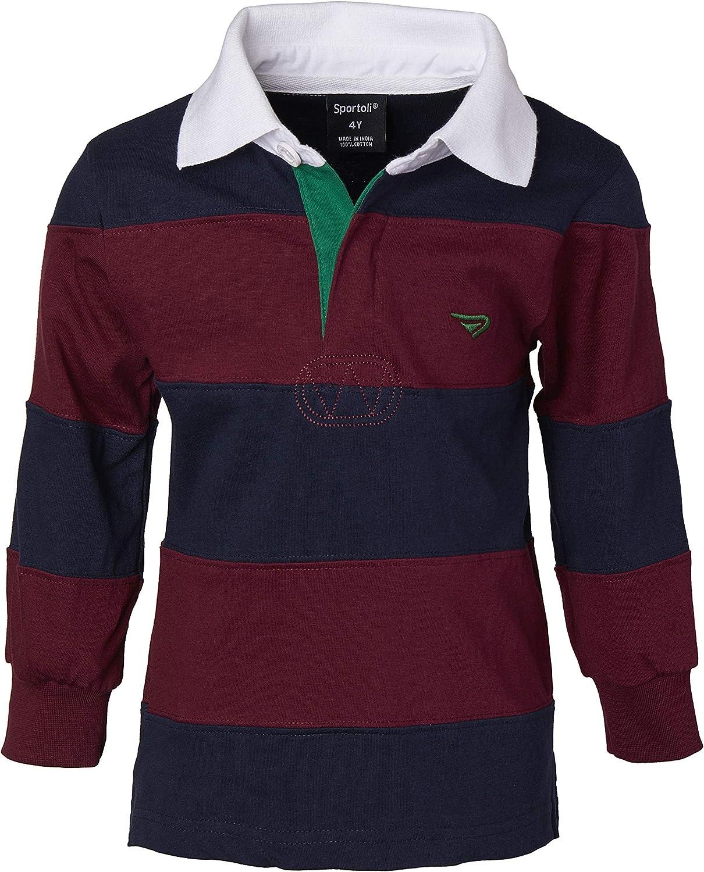 Sportoli Boys Cotton Wide Striped Long Sleeve Polo Rugby Shirt