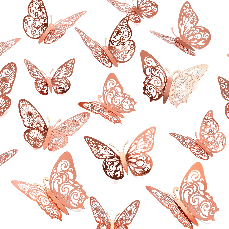 Crosize 48Pcs 3D Rose Gold Butterfly Wall Decor 3 Sizes Butterfly Decorations Butterfly Party Cake Decorations 3D Butterfly Stickers Decals for Girls Kids Baby Bedroom Bathroom Living Room Birthday