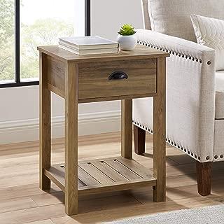 WE Furniture AZF18CYSTRO side table, Reclaimed Barnwood