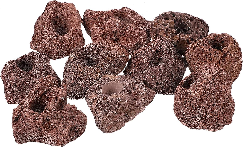 Balacoo 10Pcs Aquarium Lava Rocks Volcanic Lava Stones Decorative Rocks Fish Tank Filter Material Underwater Landscape Ornament Loose Beads for Plant Pot Bonsai Decor