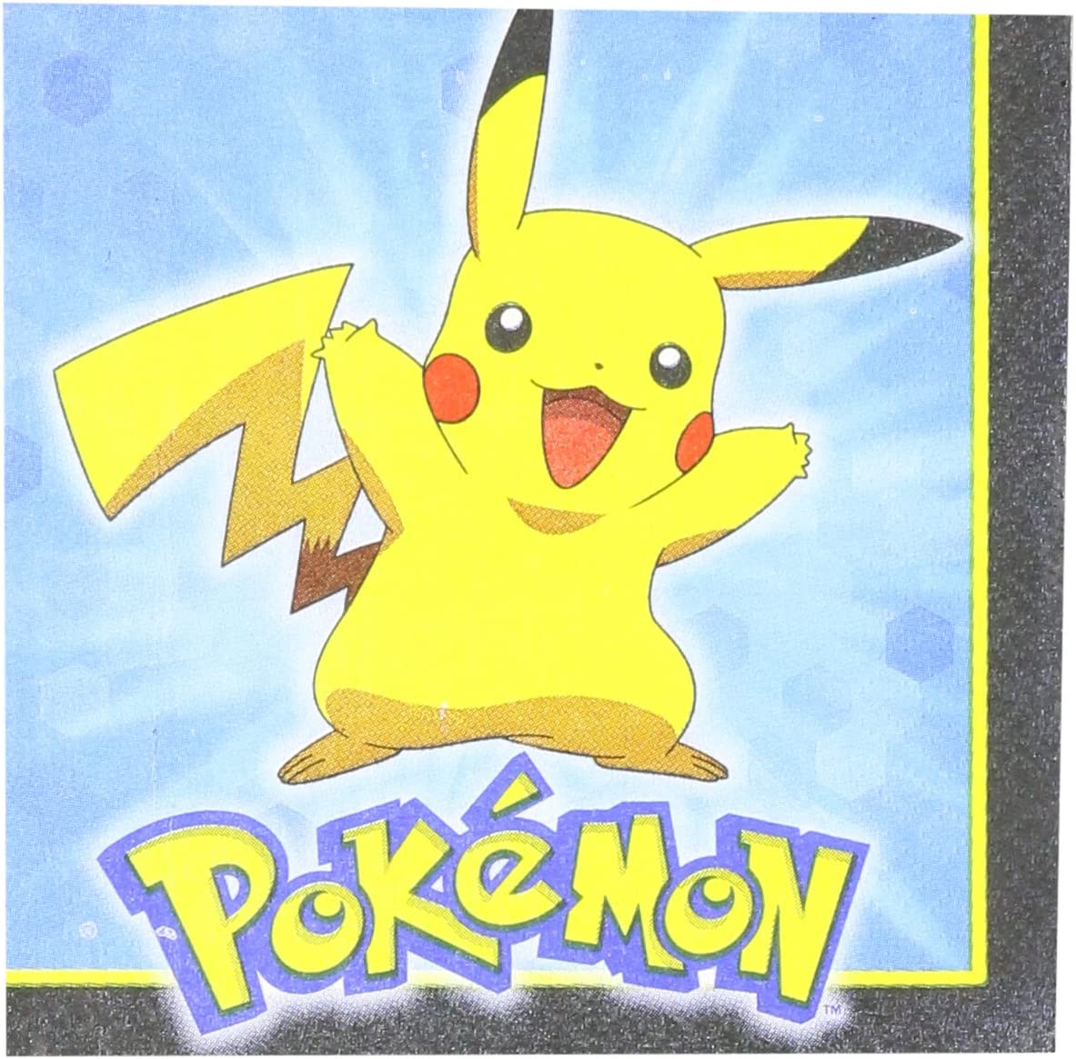Electrifyingly Cute Pikachu & Friends Birthday Party Beverage Napkins Tableware, Pack Of 16, Blue , 5