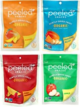 Peeled Snacks Organic Dried Fruit, Variety Pack Includes One Bag Each of Mango, Paradise Blend, Chili Mango and Apple, 2.8...
