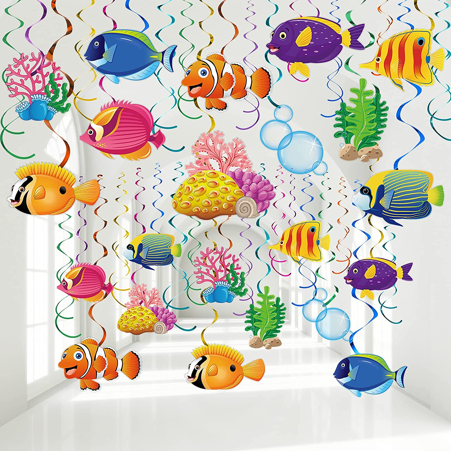 30 Pieces Tropical Fish Hanging Swirls Decorations, Under the Sea Birthday Party Ceiling Decor for Boys Girls Ocean Themed Party Mermaid Creatures Baby Beach Themed Party Supplies