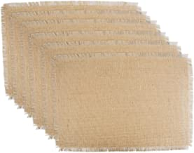 DII 100% Jute Rustic Vintage Placemat for Parties BBQ's Everyday & Holidays Use (Set of 6), Natural