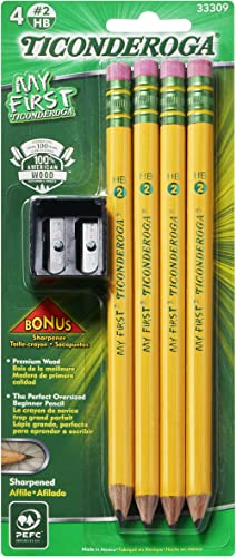 TICONDEROGA My First Pencils, Wood-Cased #2 HB Soft, Pre-Sharpened with Eraser, Includes Bonus Sharpener, Yellow, 4-P...