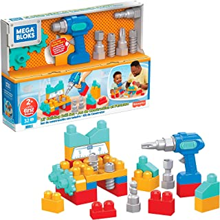 Mega Blocks First Builders Lil' Building Drill Set, Building Toys for Toddlers (32 pieces) GXK36, multicolour