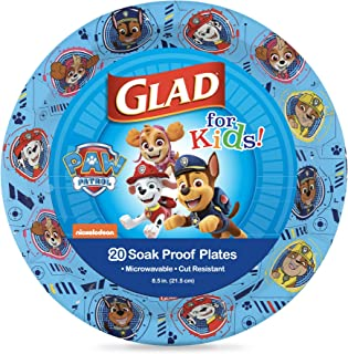 Glad for Kids Paw Patrol Paper Plates, 20 Count, 8.5 Inches | Disposable Paw Patrol Plates for Kids | Heavy Duty Disposabl...