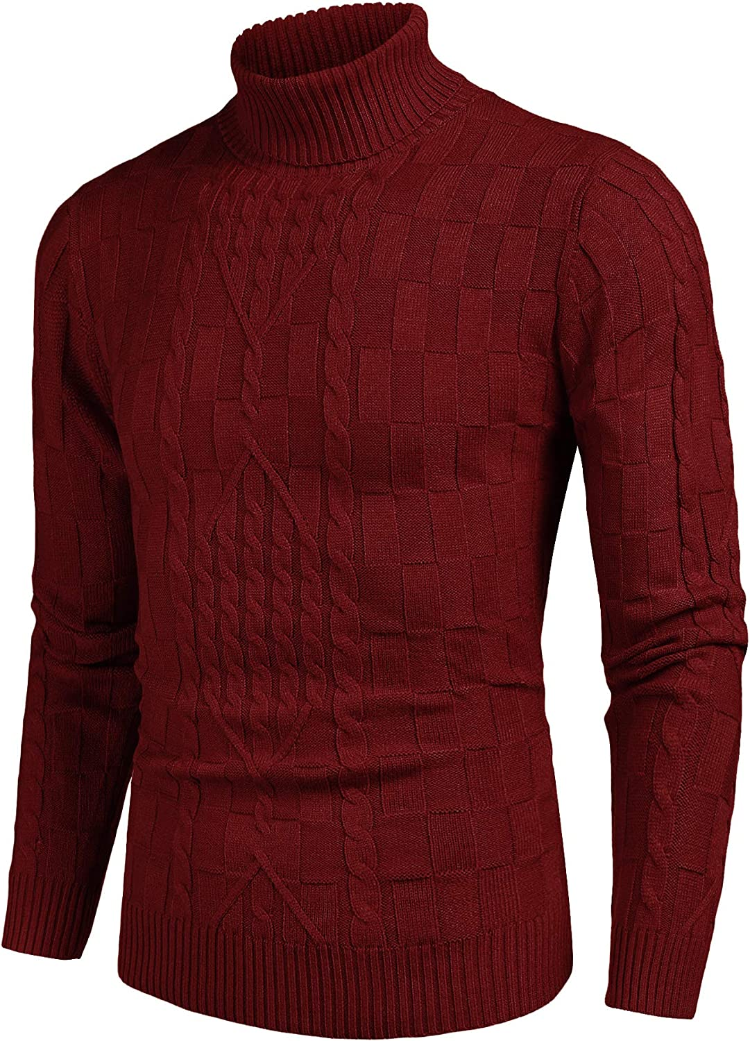 COOFANDY Men's Slim Fit Turtleneck Sweater Casual Cable Knit Pullover Sweaters