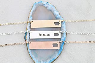 Iowa BAR Necklace - IBD - Personalize Name Coordinates – Home State - 935 Sterling Silver 14K Rose Gold Filled Layering Charm