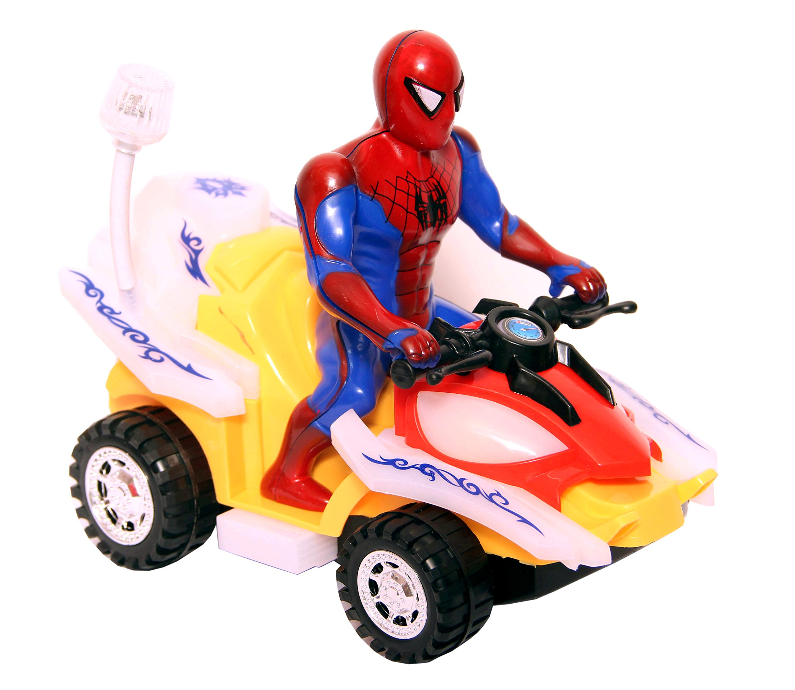DOMENICO Fantasy Kids Plastic Spider Man Musical Light, Bump and Go Motorcycle Toy