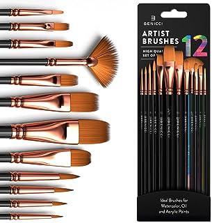 مجموعه قلم موهای رنگ آمیزی حرفه ای 12 نفره - کیت برس نقاشی برای کودکان ، بزرگسالان افسانه ای برای بوم ، آبرنگ