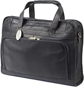 Claire Chase Professional Leather Laptop Briefcase, Computer Bag in Black