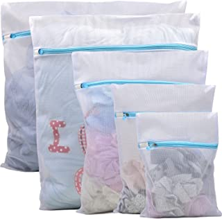 Polecasa Mesh Laundry Wash Bags for Lingerie, Hosiery, Delicates, Clothes, Bras, Socks, Bath Towels, Garments, Underwear -5 Pack- Lead-Free Mesh Fabric with Rust Proof Zipper. Travel Organizing Bags