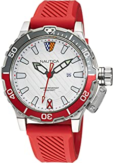 Nautica Men's Stainless Steel Quartz Silicone Strap, Red, 22 Casual Watch (Model: NAPGLS110)
