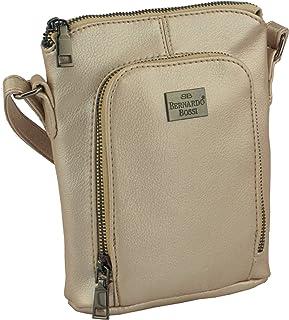 BERNARDO BOSSI Kleine Umhängetasche Damen Tasche Handtasche Schultertasche Herrentasche aus Veganes Leder (Gold)