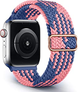 Braided Solo Loop Sport Band Compatible with Apple Watch Bands 38mm 40mm 42mm 44mm, Adjustable Soft Stretchy Elastic Wristband Compatible with iWatch Series 6/5/4/3/2/1/SE 38mm/40mm (Patents Pending)