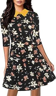 Sakaly Women's Retro Chic Turn Down Collar Print Mini A-Line Dress SK272