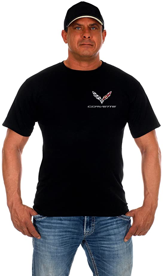 JH DESIGN GROUP Men's Chevy Corvette C7 Black Crew Neck T-Shirts in 2 Styles