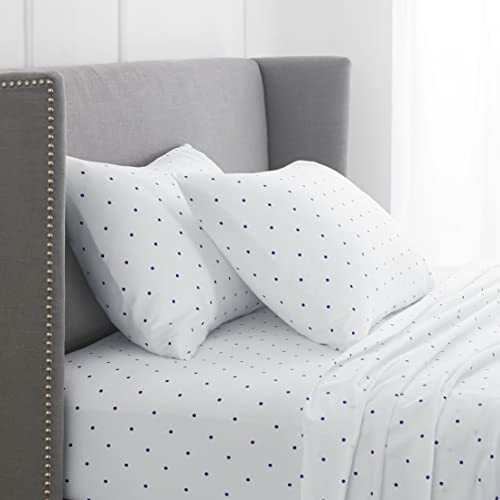 Pinzon 170 Gram Flannel Cotton Bed Sheet Set, California King, Navy Dot