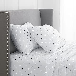 Pinzon 170 Gram Flannel Cotton Bed Sheet Set, King, Navy Dot