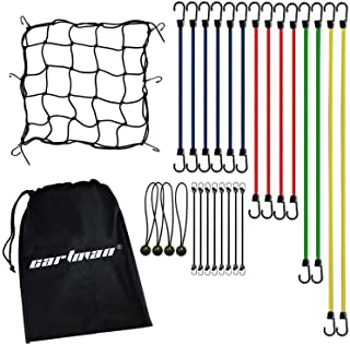 CARTMAN Bungee Cord Assortment 28 Pieces with Motorcycle Net