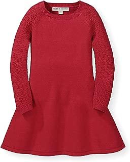 Girls' Long Sleeve Sweater Skater Dress with Pointelle Sleeves