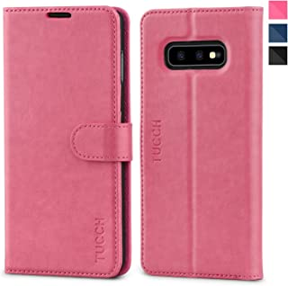 Galaxy S10e Case, TUCCH S10 Edge Wallet Case, PU Leather Phone Case [3 Card Slot] [Kickstand] Carry-All Case [RFID Blocking] [Flip Cover] Compatible with Galaxy S10e (2019 5.8 inch), Hot Pink
