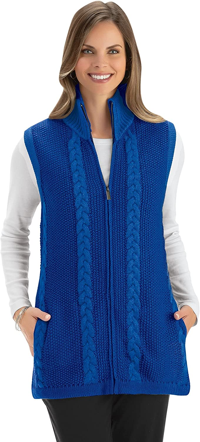Full Zip Front Long Length Cable Knit Sweater Vest