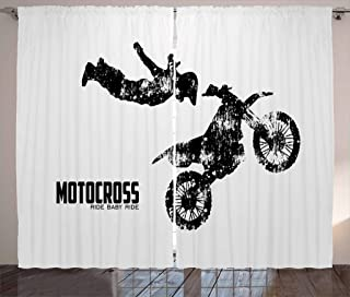 Lunarable Dirt Bike Curtains, Weathered Effect with Biker Silhouette and Motocross Racing Moves Theme, Living Room Bedroom Window Drapes 2 Panel Set, 108